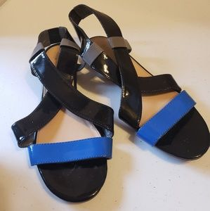 NY & Co. Blue and Black Wedge Sandals - WS6